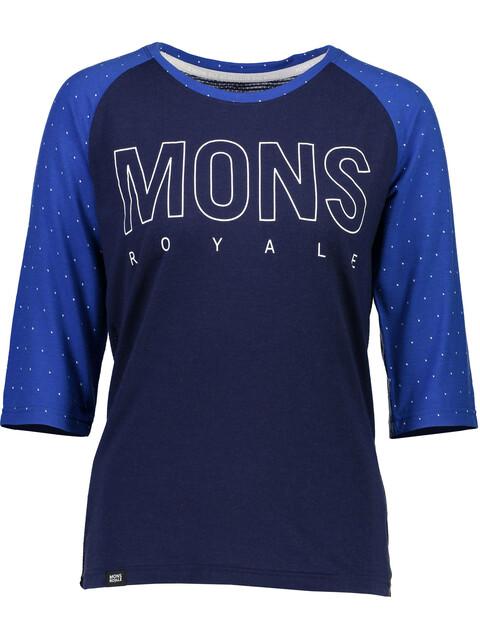Mons Royale W's Phoenix Raglan MR Box OL 3/4 T-Shirt Blue Dot/Navy